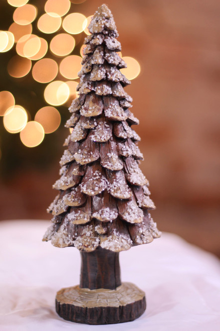 Medium Resin Pine Cone Snow Tree