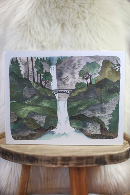 "Michele Maule Multnomah Falls 11"" x 14"" Art Print"