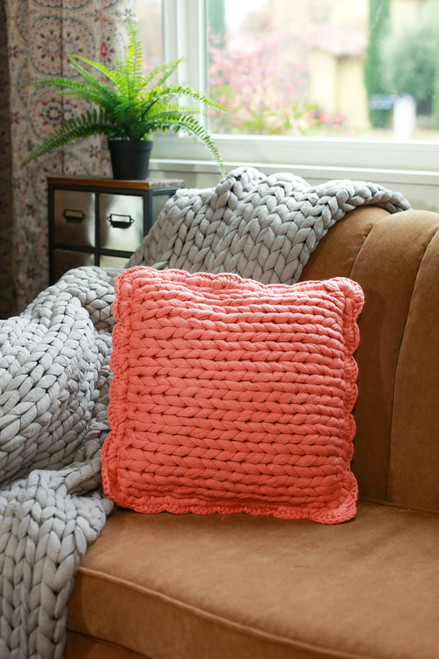 Chunky Knit Pillow in Coral