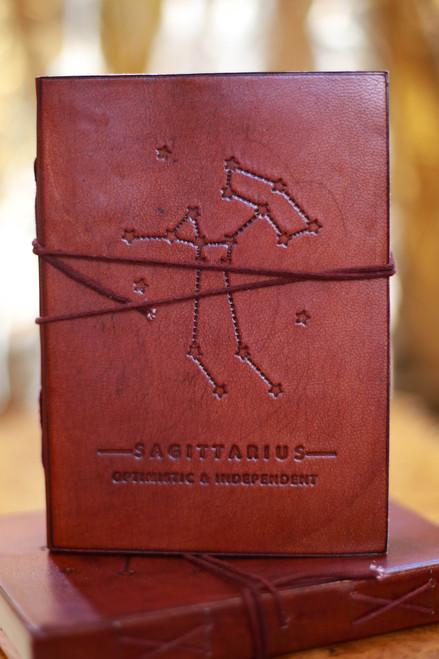 Soothi Sagittarius Zodiac Embossed Leather Journal