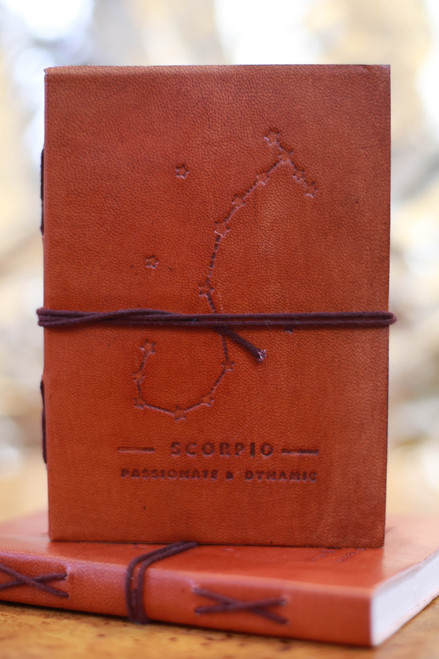 Soothi Scorpio Zodiac Embossed Leather Journal