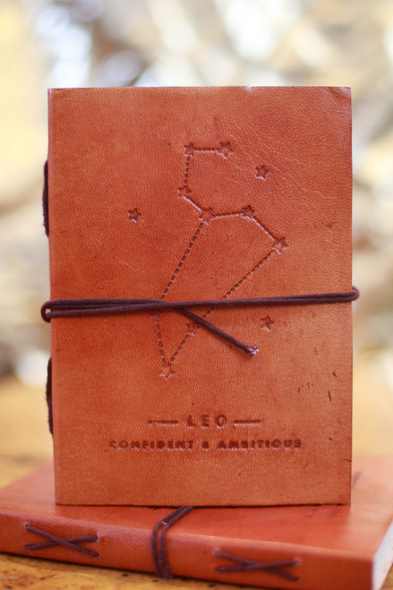 Soothi Leo Zodiac Embossed Leather Journal