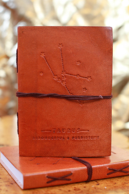 Soothi Taurus Zodiac Embossed Leather Journal