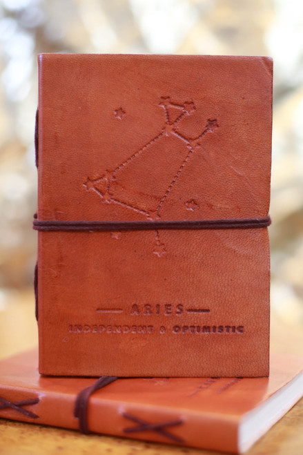 Soothi Aries Zodiac Embossed Leather Journal