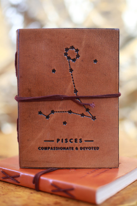 Soothi Pisces Zodiac Embossed Leather Journal