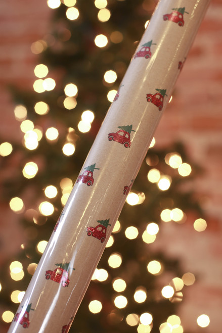 Paper Source Glitter Cars Wrapping Paper Roll
