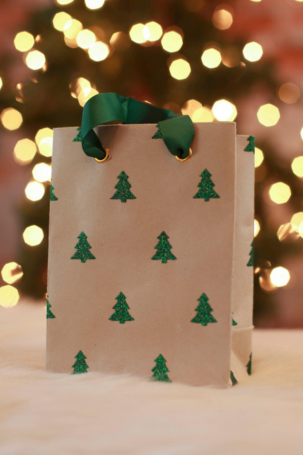 Paper Source Small Green Glitter Tree Bag