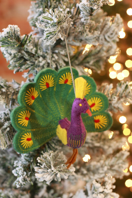Silk Road Bazaar Green Peacock Ornament