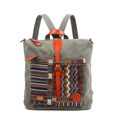 TSD Brand Olive Boho Convertible Backpack/Crossbody