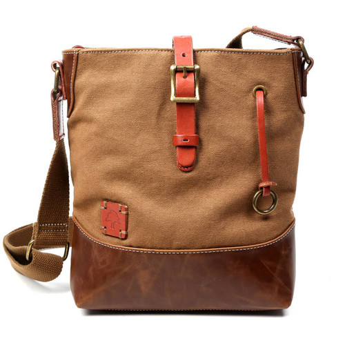 TSD Brand Brown Redwood Canvas Crossbody Bag