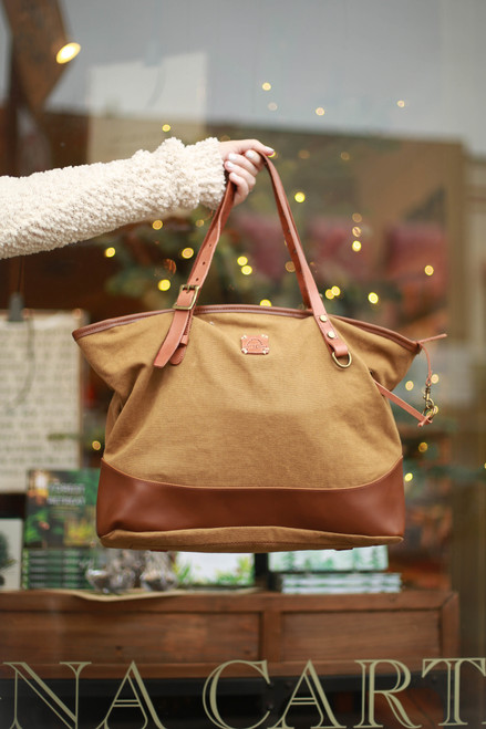 TSD Brand Brown Redwood Canvas Shopper