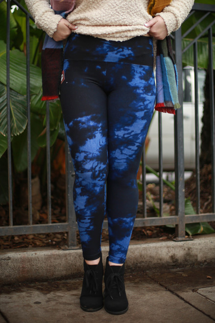 Blue Indigo Tie Dye Super High Waist Butter Soft Leggings
