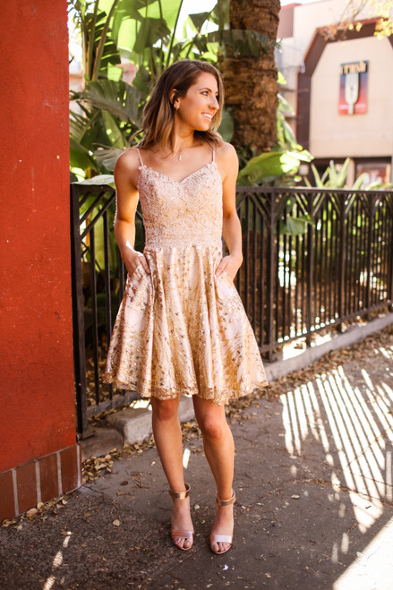 Champagne Babe Sparkly Short Holiday Dress with Pockets
