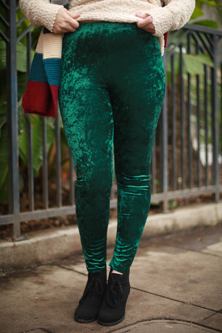 Emerald Green Velvet Leggings front view.