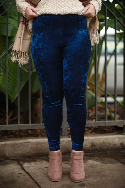 Sapphire Blue Velvet Leggings