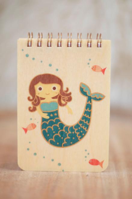 Night Owl Paper Goods Mabel Mermaid Wood Mini Notepad