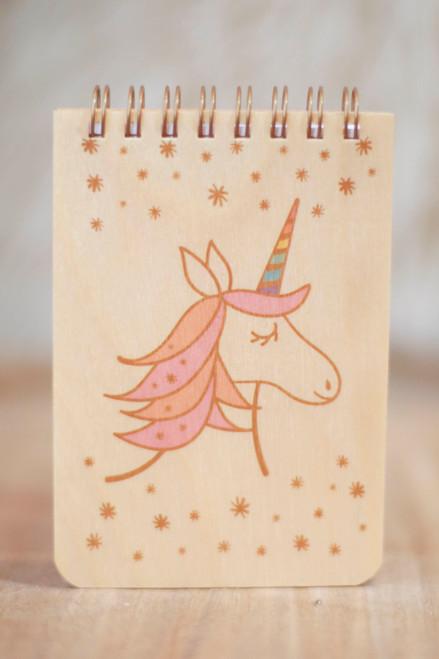 Night Owl Paper Goods Magical Unicorn Wood Mini Notepad