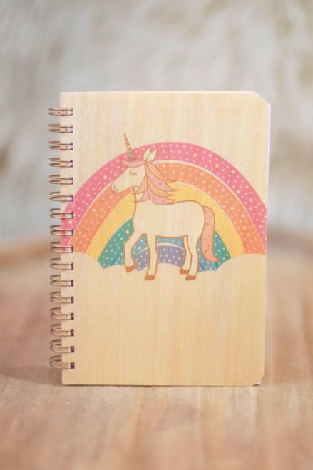 Night Owl Paper Goods Prancing Unicorn Wood Notebook