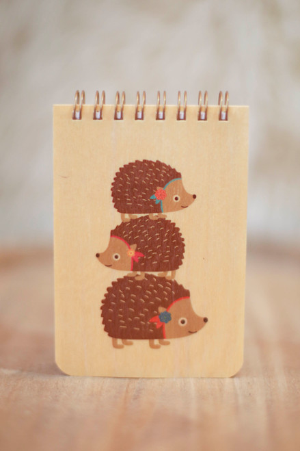 Night Owl Paper Goods Stacked Hedgehogs Wood Mini Notepad
