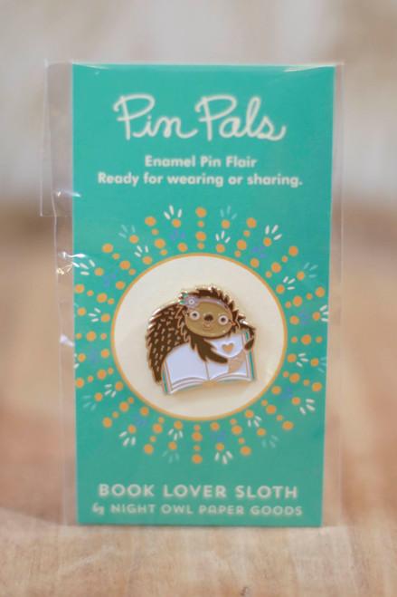 Night Owl Paper Goods Book Lover Sloth Enamel Pin