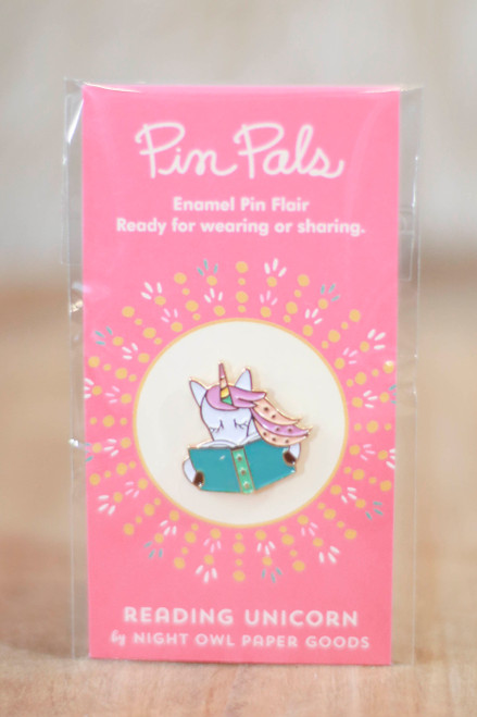 Night Owl Paper Goods Reading Unicorn Enamel Pin