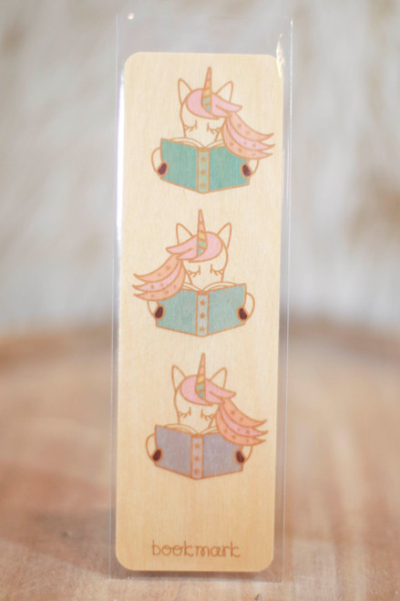 Night Owl Paper Goods Unicorn Readers Wood Bookmark