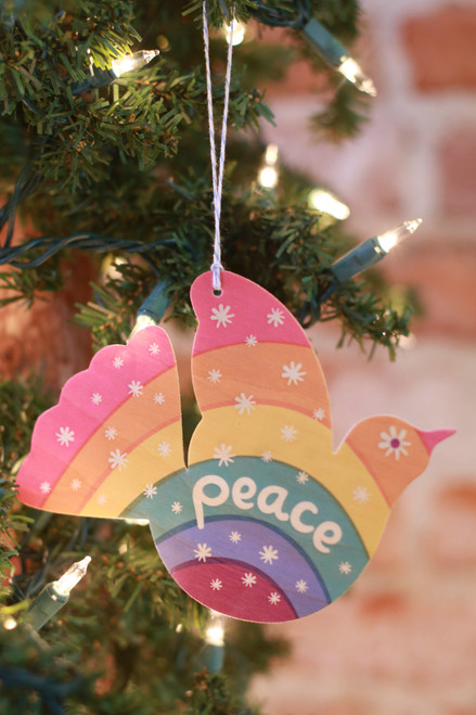 Night Owl Paper Goods Rainbow Dove Wood Ornament Holiday Card