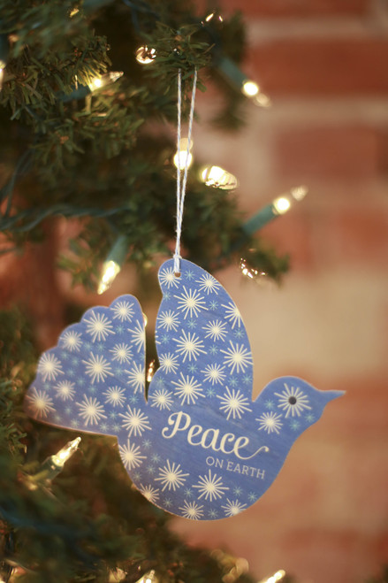 Night Owl Paper Goods Dove Wood Ornament Holiday Card