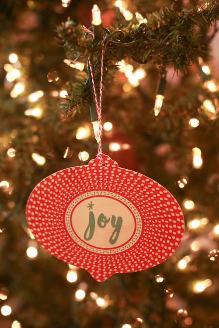 Night Owl Paper Goods Radient Joy Wood Ornament Holiday Card