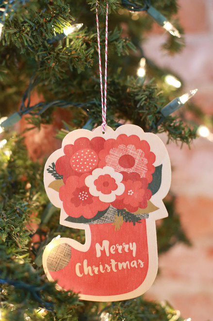 Night Owl Paper Goods Flower Stocking Wood Ornament Card