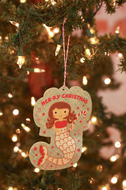 Night Owl Paper Goods Merry Mermaid Wood Ornament Card