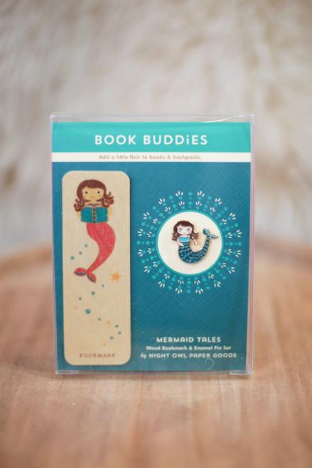 Night Owl Paper Goods Mermaid Tales Enamel Pin and Bookmark Gift Set