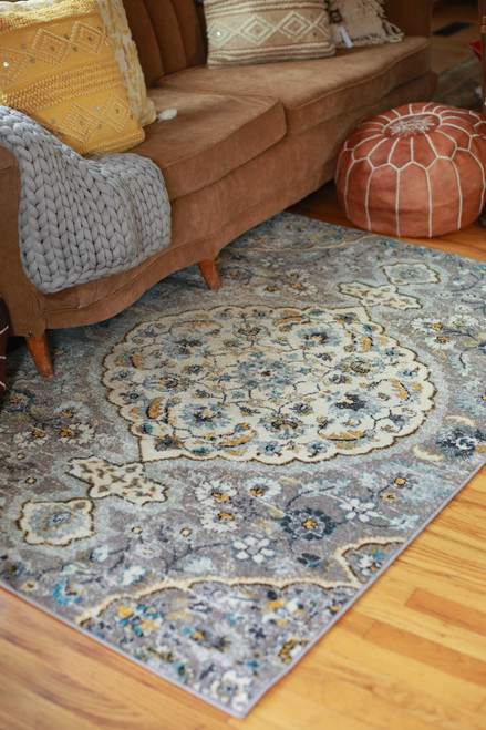 Abani Blue and Gray Eden 4' x 6' Rug