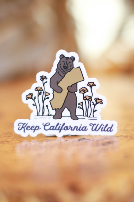 Keep California Wild Bear Hug Sticker