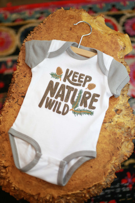 Keep Nature Wild Pinecone Stone Onesie