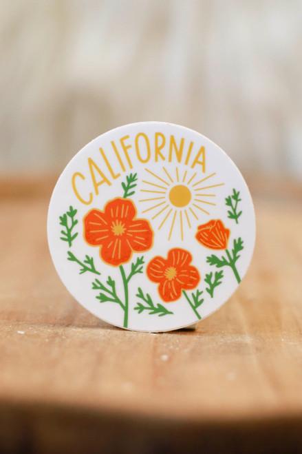 California Poppy Sun White Sticker