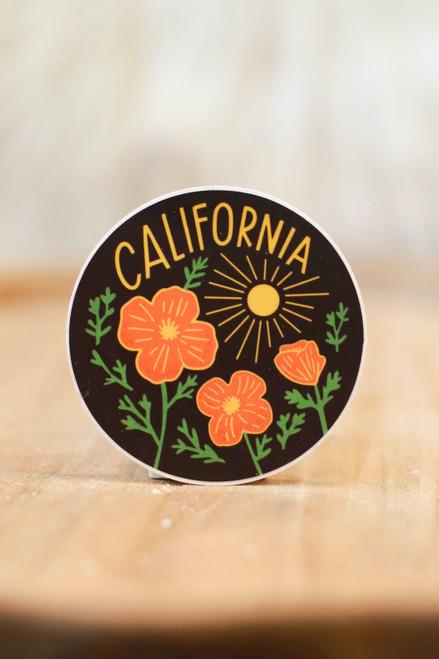 California Poppy Sun Black Sticker