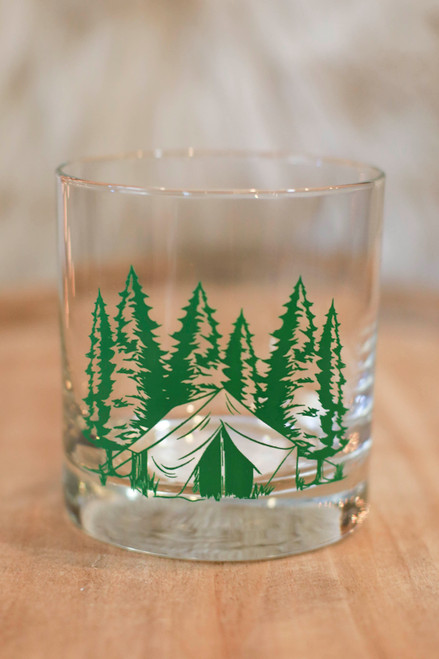 Green Camping Rocks Glass