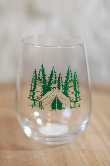 Green Camping Wine Glass