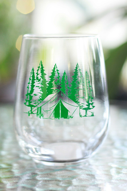 Green Camping Wine Glass
