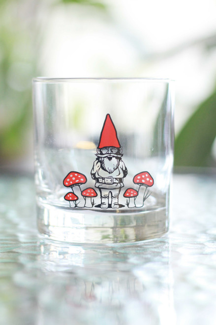 Red Gnome Rocks Glass