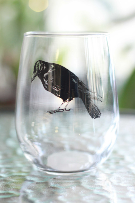 Black Crow Stemless Wine Glass