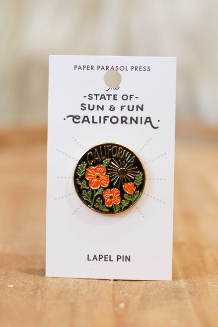 California Poppy Sun Enamel Pin