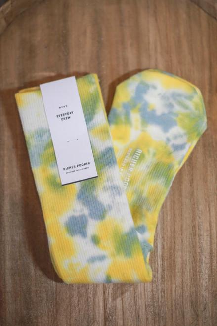 Men's Sherbet Sage and Yellow Tie Dye Socks