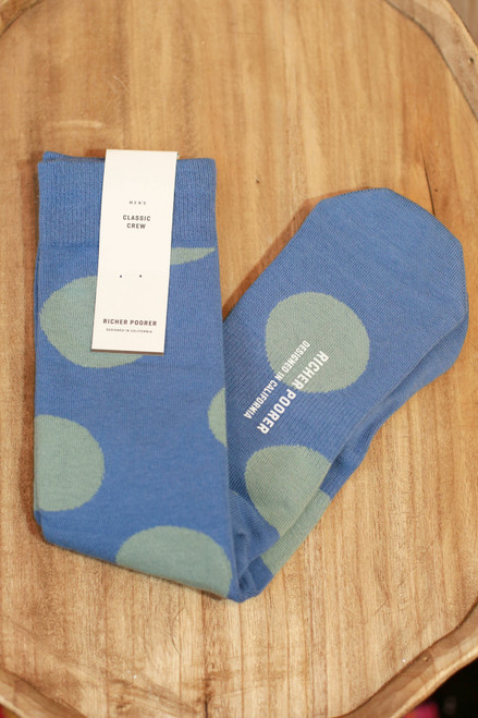 Men's Rufus Blue and Sage Polka Dot Socks