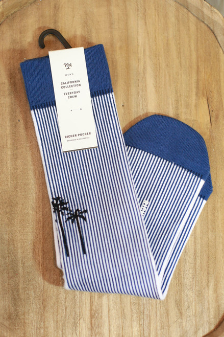 Men's Marina Blue and Black Palm Tree Socks
