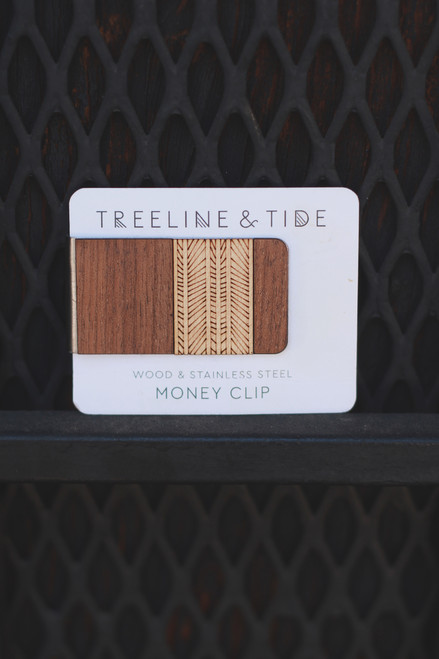 Treeline and Tide Lines Wood and Metal Money Clip