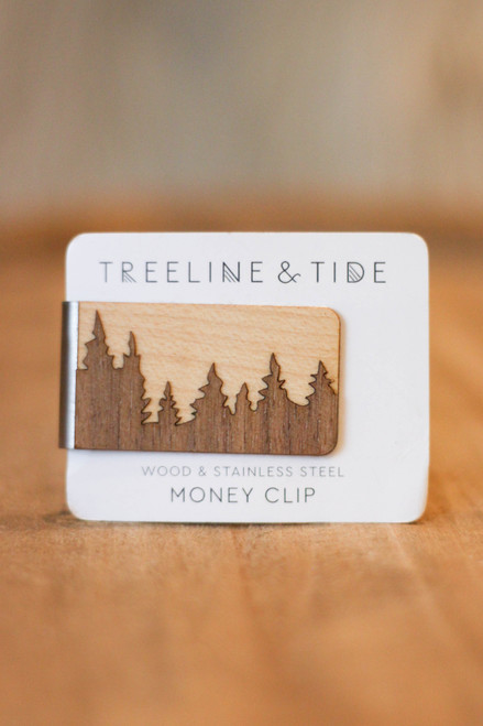 Treeline and Tide Forest Wood and Metal Money Clip