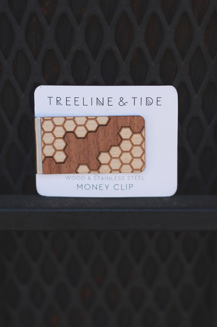 Treeline and Tide Honeycomb Wood and Metal Money Clip