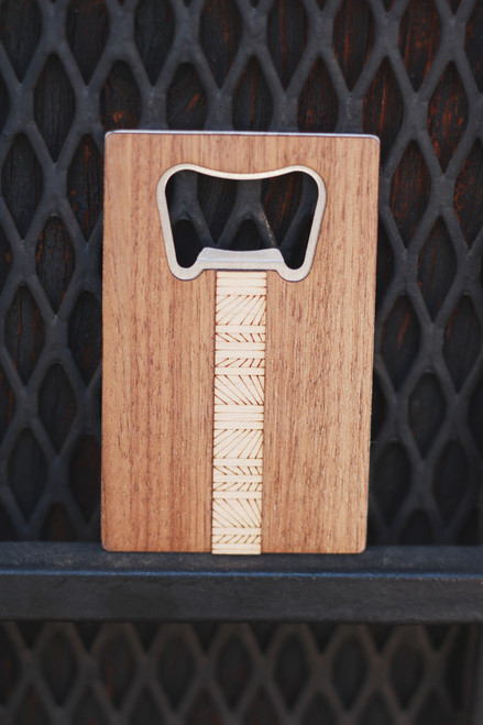 Treeline and Tide Lines Wood and Metal Bottle Opener